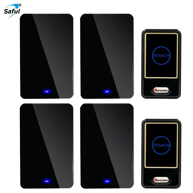Saful EU / AU / UK / US Plug wireless doorbell 150M long range 28 ringtones 2 out transmitter +4 black Doorbell akg ac12 psu12v 500ma lock eu us uk au