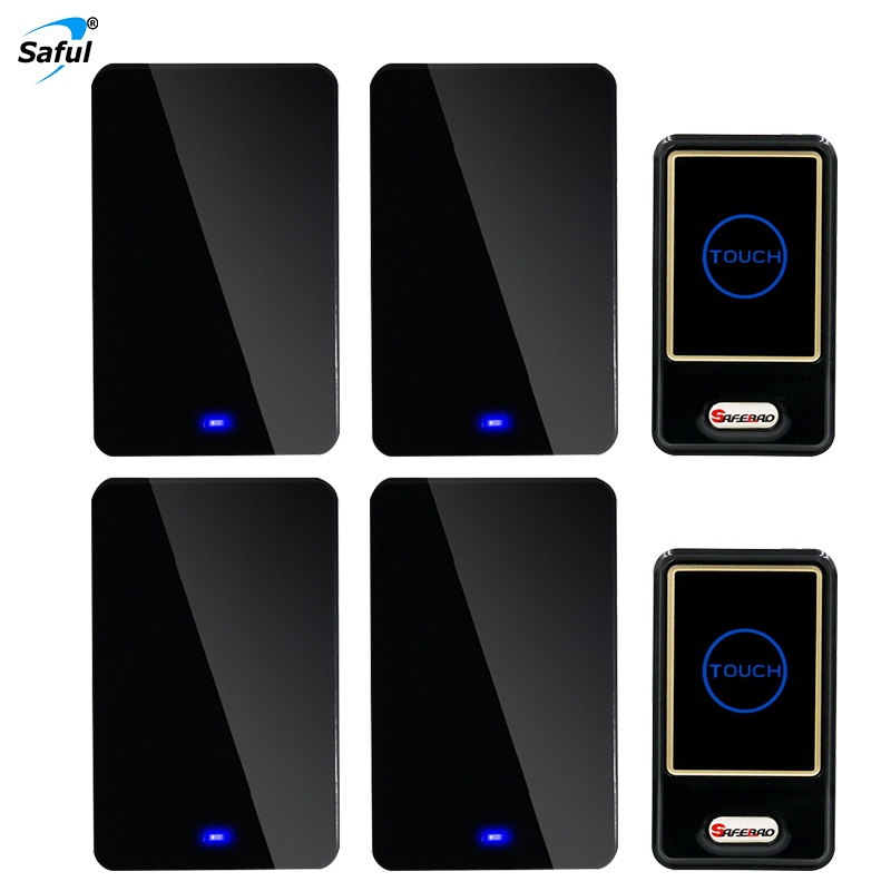 Saful  Wireless doorbell Waterproof Touch Button with 2 out transmitter + 4 black Doorbell EU / AU / UK / US Plug 2 receivers 60 buzzers wireless restaurant buzzer caller table call calling button waiter pager system