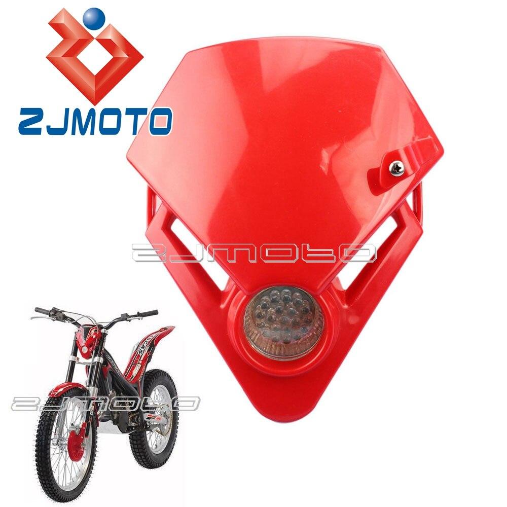 Mini Dirt Bike Motorcycle Universal Vision LED Headlight Fairing For GASGAS TXT PRO 280 125 Racing Motorcycle Headlamp Red