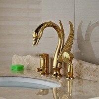 חדר רחצה פליז זהב יוקרה ברבור Diverter רז W/יד מרסס מיקסר ברז