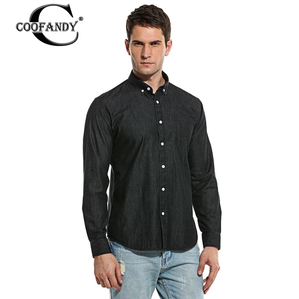 Coofandy brand men denim shirt 2017 new top quality casual for Top dress shirt brands