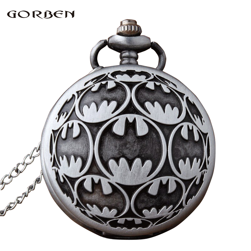 Antique Carving Fob Watches Anime Super Hero Batman Quartz Pocket Watch With Chain For Men Fans Collection Gift Relogio De Bolso