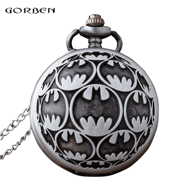 Antique Carving fob Watches Anime Super Hero Batman Quartz Pocket Watch with Cha