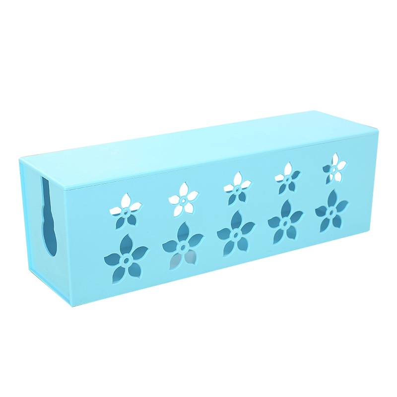 DIY plastic cable storage box desk organizer case cables box holder Safety Socket Outlet Board Container carved cord (blue) L 4