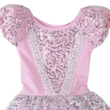 2016 Good Quality Kid Girls Short Sleeve Pink Ballet Dress Leotards Ballet Dress Gymnastic Dress with Sequin For SZ 2~8