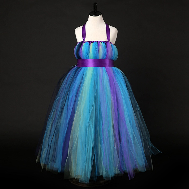 Girls Princess Peacock Party Tutu Dress For Wedding Birthday Long Handmade 1-10Y Kid Ball Gown Flower Halloween Costume Dresses princess girls peacock tutu dress