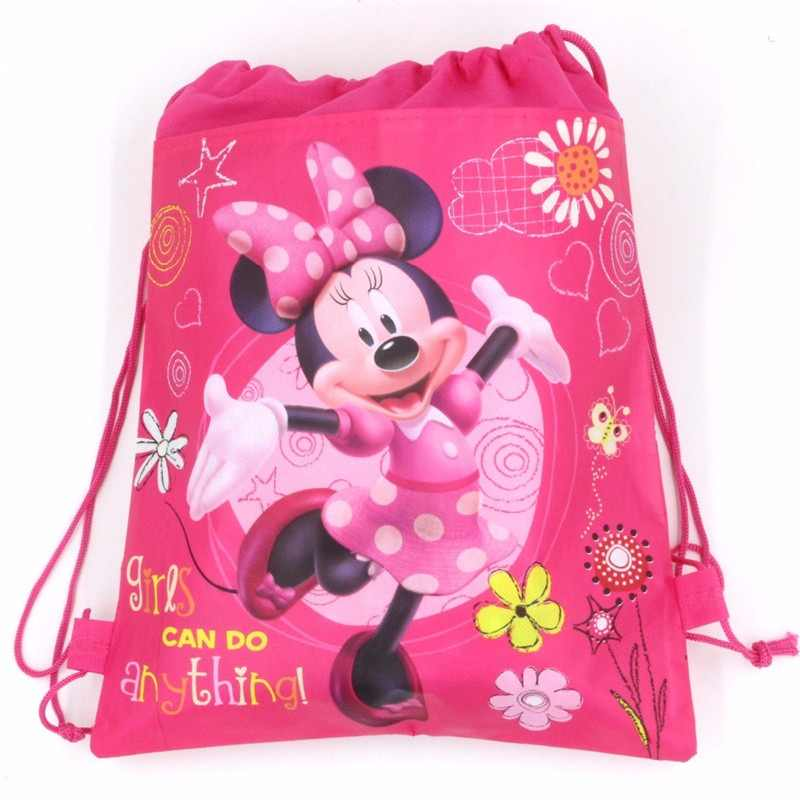 Minnie Mouse 12pcs/lot Cartoon Drawstring Kid Favor School Bag Non-woven Fabrics Storage Gift Bags Backpack Lightweight Portable