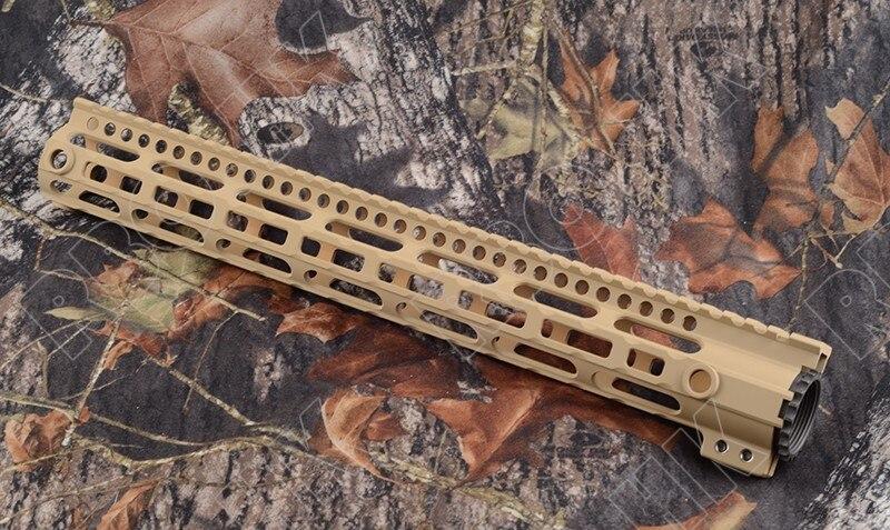 Picatinny weaver AR 15 rail système pour 7075 En alliage D'aluminium 15 pouce longueur et qd pistolet sling emerillons adaptateur TAN m1777