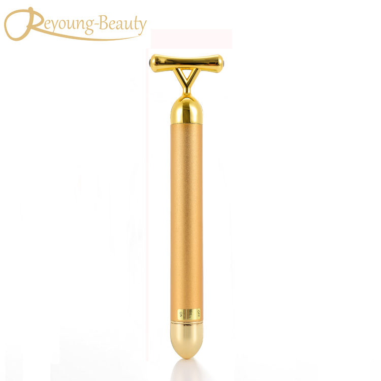 Face Lifting Slimming Shaping Skin Tightening Y Shape 24k Vibration Gold Energy Beauty Bar Roller Stick Facial Massager Machine slimming face massager stick 24k gold vibration facial beauty roller lift tightening wrinkle stick bar face skin care with box