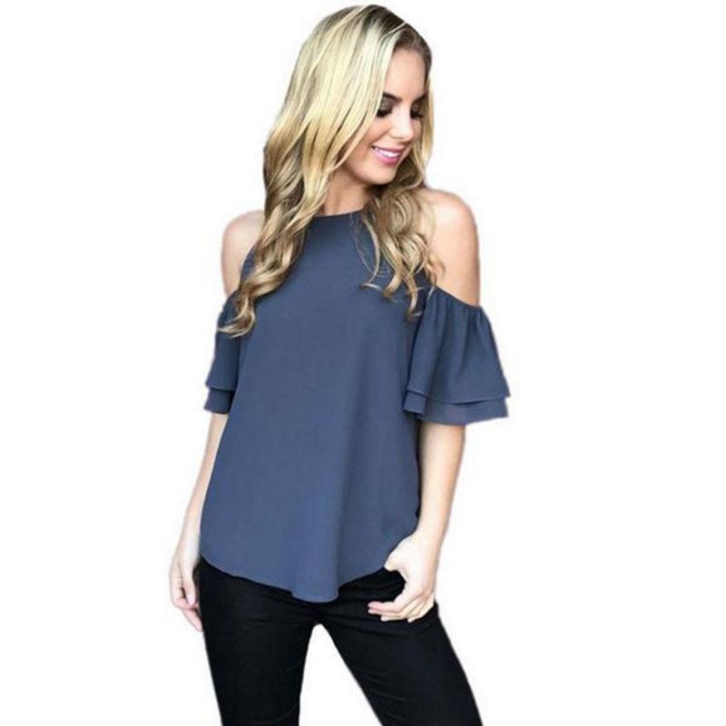 2017 Verano Nueva Moda Hombro Abierto Azul de Las Mujeres T-shirts Tops Top Casu