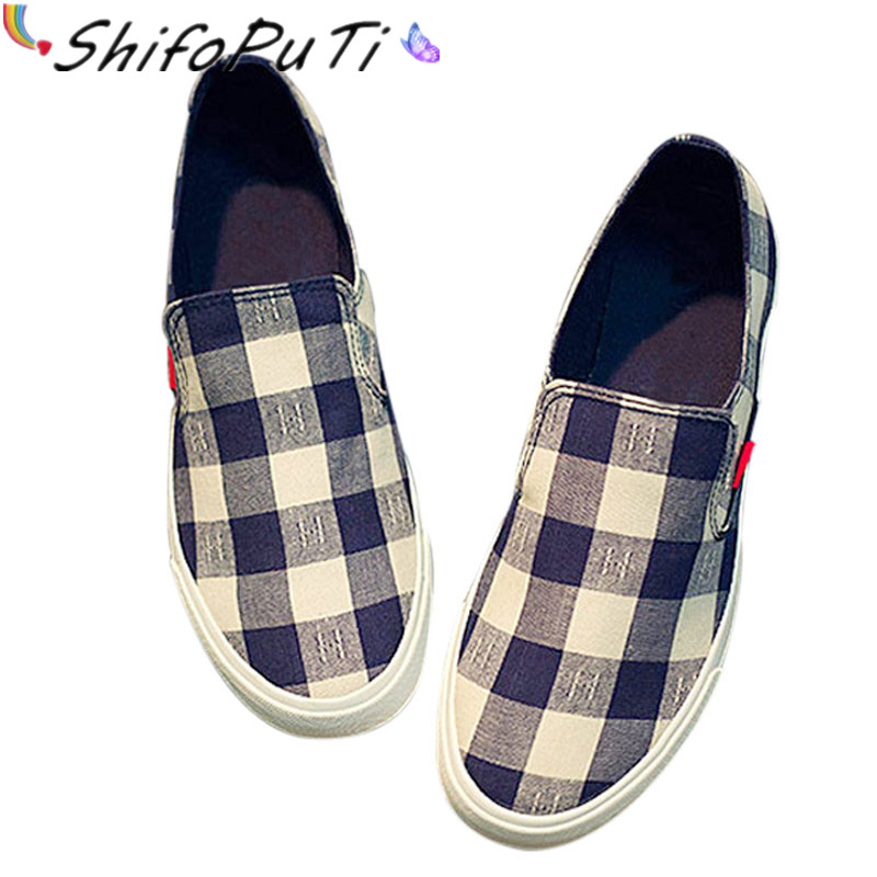 Low Top Spring and Autumn Canvas Shoes Men Casual Plaid Shoes High Quality Flats Men Shoes Fashion Brand Blue Red Black TH046 hot sale 2016 top quality brand shoes for men fashion casual shoes teenagers flat walking shoes high top canvas shoes zatapos