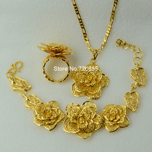 Big Flower set Jewelry  Real Gold Plated Pendant Chain Bangle Ring Wedding Bridal Jewellry Set Women ethiopian/Africa/Arabic