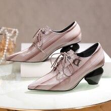 Большой размер 42, женские туфли-лодочки из натуральной кожи на среднем каблуке удобная Винтажная обувь высокого качества в стиле ретро на шнуровке
