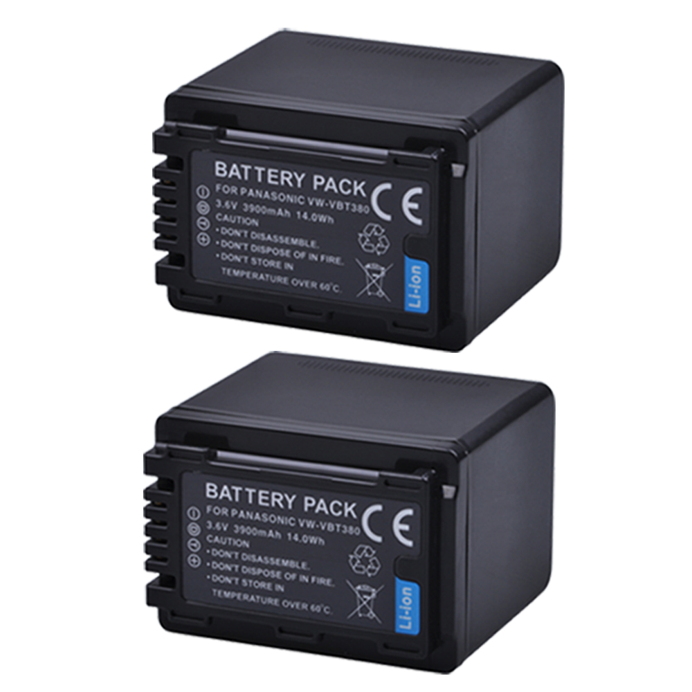 2pc VW-VBT380 VW VBT380 3900mAH Li-ion Camera Battery for Panasonic HC-V180GK HC-V380GK HC-W580GK HC-W580MGK HC-V110 HC V130 160