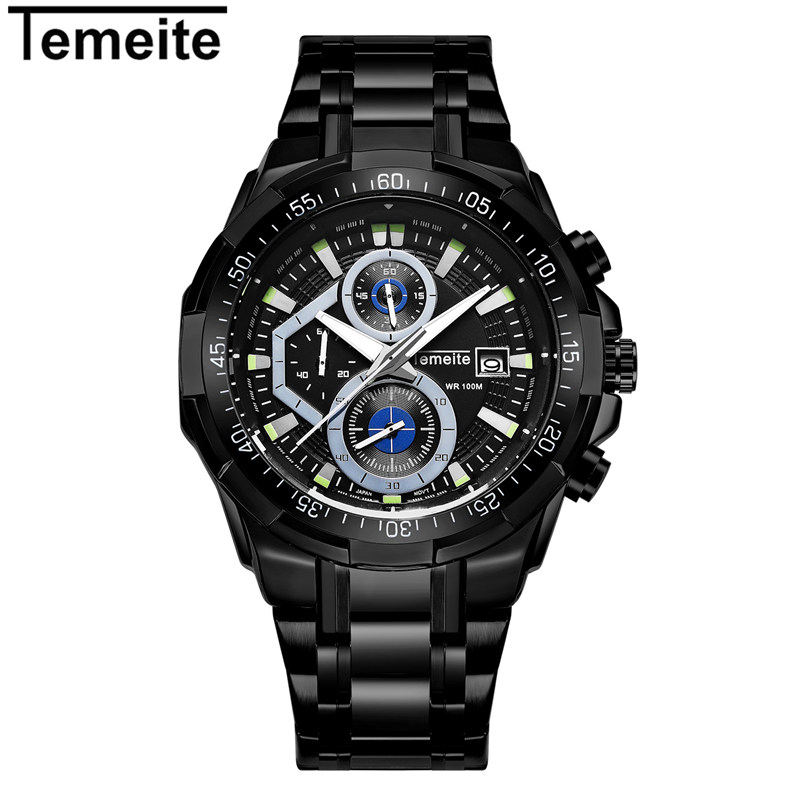 2017 Christmas Gift Men Watch Quartz Top Brand TEMEITE Luxury Sport Casual Mens Watches Stainless Steel Waterproof Wristwatch trendy cool style captain america shield case fob quartz pocket watch black dia with steel chain necklace christmas gift