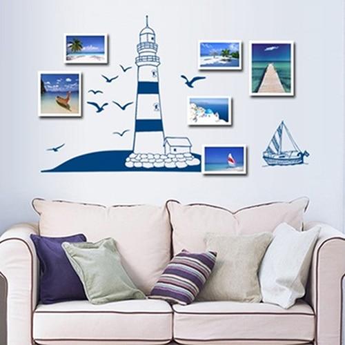 ᐊVela barco faro Gaviota foto pequeña Marcos mural etiqueta de la ...