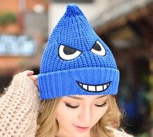Милый мультфильм преувеличенные выражения зима теплая женщины вязаная шапка Hat Cap