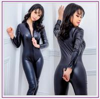 NEW Faux Leather Lingerie Jumpsuit Sexy Body Suits For Women Pvc Catsuit Teddy Erotic Leotard Costumes