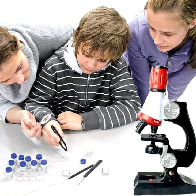 Microscope 1200X Zoom Kids Science Biological Kit Scientific Instruments Educational Toy for Child Plastic Refined Useful