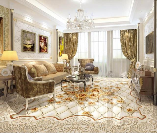 benutzerdefinierte 3d boden tapete luxus goldene rose marmor 3d fototapete 3d bodenfliesen. Black Bedroom Furniture Sets. Home Design Ideas