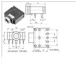 Free shipping 50pcs 3.5mm Stereo Jack Socket Audio Jack
