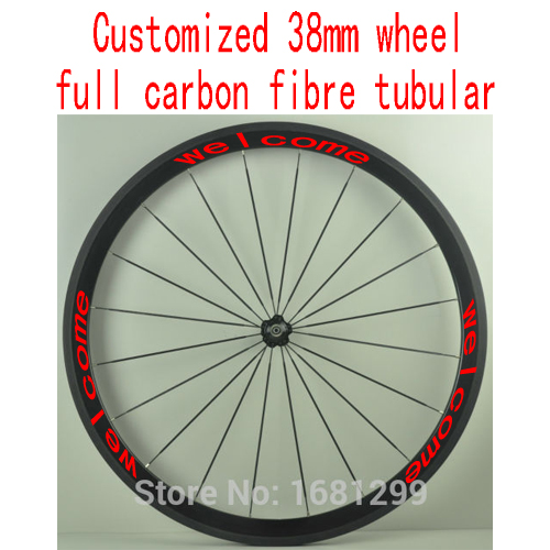 Фото 1pcs New 700C customized 38mm tubular rim road Track Fixed Gear bicycle aero 3K UD 12K full carbon fibre bike wheelset Free ship