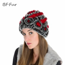 2017 Women New Real Rex Rabbit Fur Hat Winter Lady Floral Cap Female Headgear Women Fur Beanies Hats BF-M0026