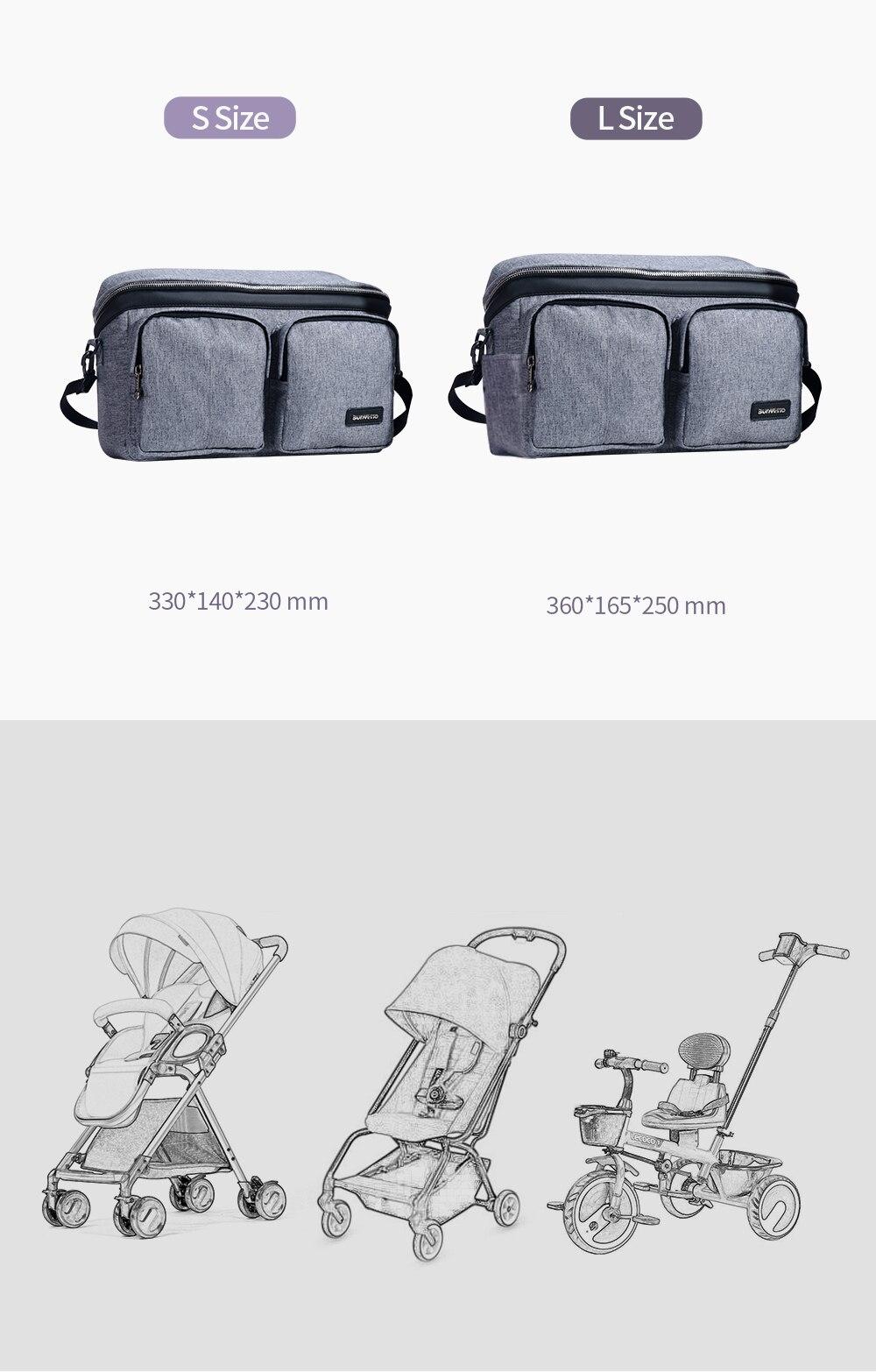 SUNVENO Diaper Bag For Baby Stuff Nappy Bag Stroller Organizer Baby Bag Mom Travel Hanging Carriage Pram Buggy Cart Bottle Bag