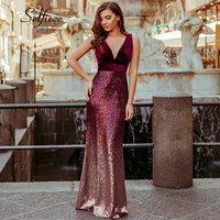 Sexy Party Dress Women 2019 Vestidos De Fiesta New Fashion Mermaid V Neck Velvet Spring Dresses Sparkly Sequined Bodycon Dress