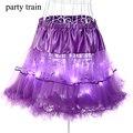 Mujeres con encanto LED Tutu Faldas de Volantes de Tul Balón vestido Jupe Sólido Elástico Falda Faldas falda de Gasa Sexy Ladies Dancing Light