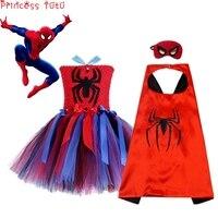 Miles Morales spiderman costume Kids Girl Superhero Costume Birthday Party Tutu Dress Fancy Halloween Cosplay Costume With Mask