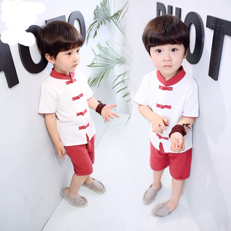 bd465a6845 2018 New Summer Boys Chinese Style Linen Clothing Sets Children s Plate  buckle Tshirt +Solid Shorts 2 PCS Clothes Suit-in Clothing Sets from Mother    Kids ...