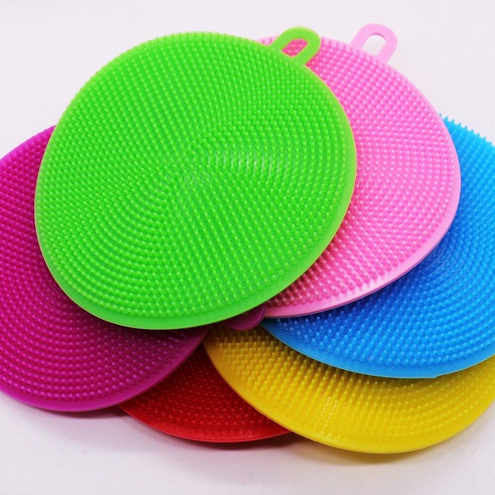 round Silicone Dishwashing Sponge Brush Antibacterial Kitchen  Cleaning Pad eco friendly Insulation padsSponges