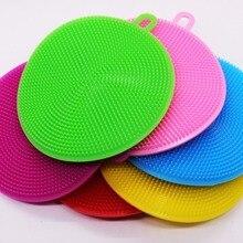 round Silicone Dishwashing Sponge Brush Antibacterial Kitchen Cleaning Pad eco friendly Insulation pads