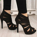 New 2015 Fashion Summer Open Toe Party Pumps Women/Sexy Hollow Ankle High Heel Women Pumps/Brand Plus Size Women Shoes