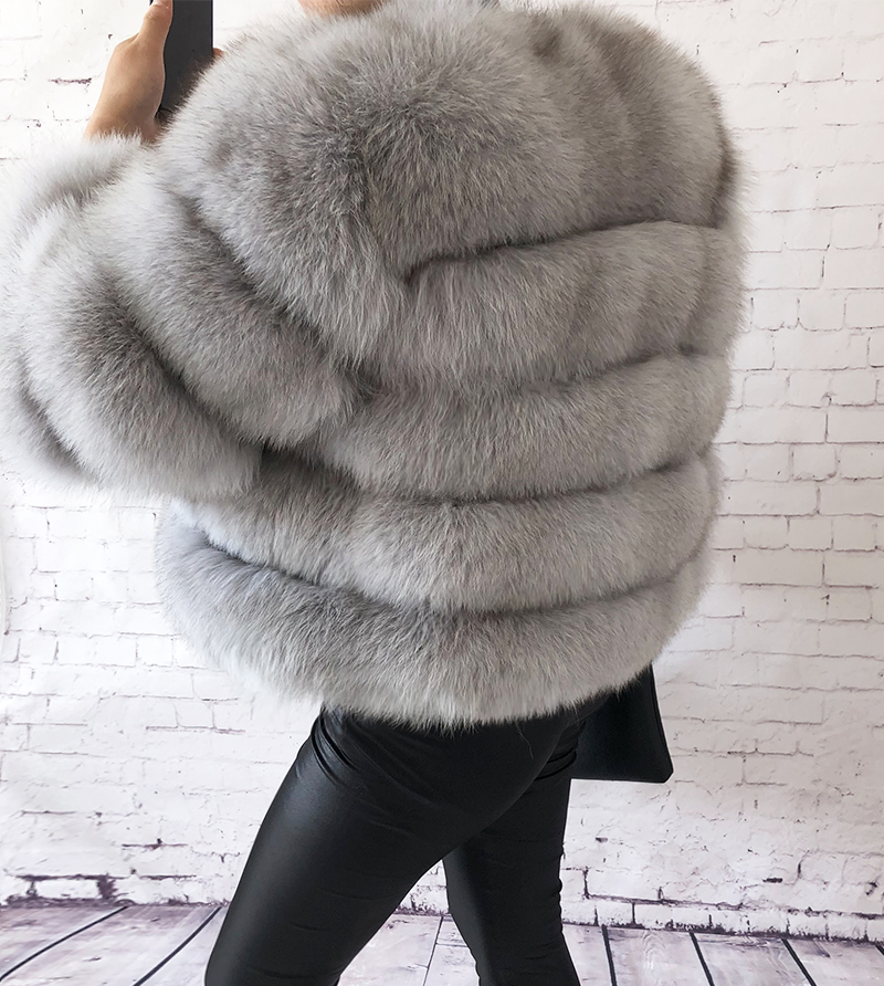 2019 new style real fur coat 100% natural fur jacket female winter warm leather fox fur coat high quality fur vest Free shipping 111