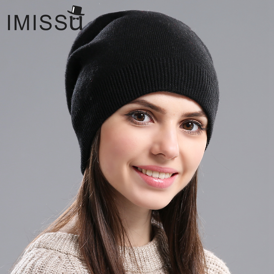 IMISSU Autumn Winter Hats Unisex Knitted Real Wool Skullies Casual Beanie Solid Colors Ski Gorros Fashion Cap Warm Muts Hat free shipping high quality price reasonable cleanacrylic podium pulpit lectern podium