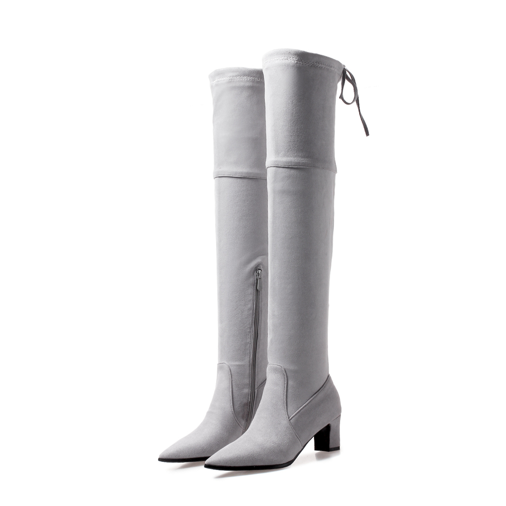 Women Shoes Over the Knee  Boots   High Quality Flock  Warm Winter Women Shoes  Pointed Toe Square High  Heels BO-ASCP-08-34Women Shoes Over the Knee  Boots   High Quality Flock  Warm Winter Women Shoes  Pointed Toe Square High  Heels BO-ASCP-08-34