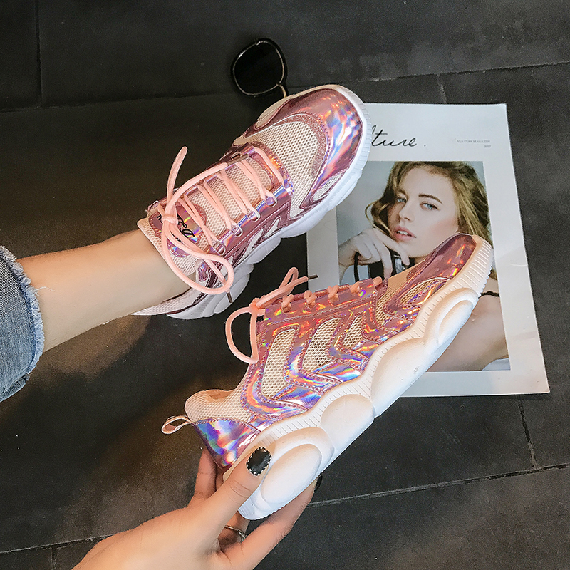2019 Women Vulcanize Shoes Lace Up Casual Shoes Woman Bling Flats Breathable  Wedges Platform Sneakers Sports Lady Pink Silver2019 Women Vulcanize Shoes Lace Up Casual Shoes Woman Bling Flats Breathable  Wedges Platform Sneakers Sports Lady Pink Silver