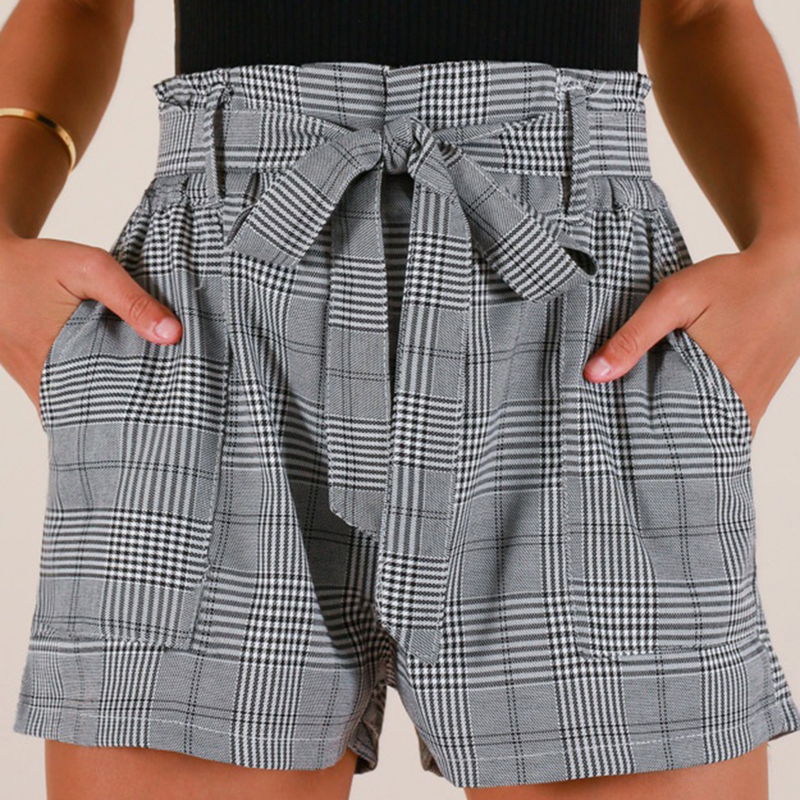 Women Casual Lace Up Waist Plaid Shorts Summer High Waist Straight Leg Shorts Female Elastic Waist Office Shorts Befree