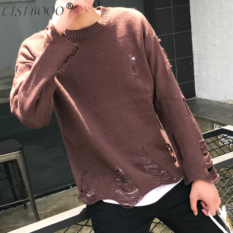 Autumn And Winter Couples Casual Sweaters Mens Long Sleeve Sweaters Holes Loose Round Neck Sweater Cashmere Sweater Men