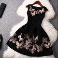 2015 o-cuello sin mangas del verano de las mujeres mini empire dress puso un gran sello de mariposa estilo europeo y americano