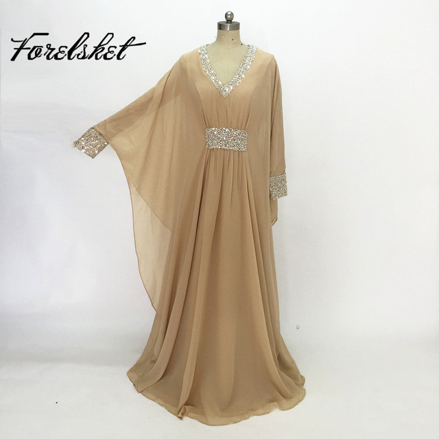 Arabic Muslim Evening Dresses A Line Gold and Black Sequins Beaded 2016 Plus Size Formal Party Wear Long Special Occasion Dress