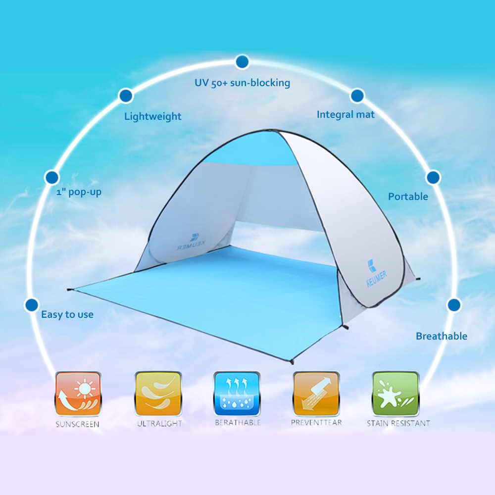 Tentes extérieures automatique instantanée Anti UV abri Camping pêche randonnée pique-nique tente Pop-up Portable plage tente (120 + 60) * 150*100cm