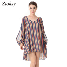 2018 Fashion Spring Summer Loose Dress Striped V-neck Split ends Long-sleeved  Ladies Chiffon Dress