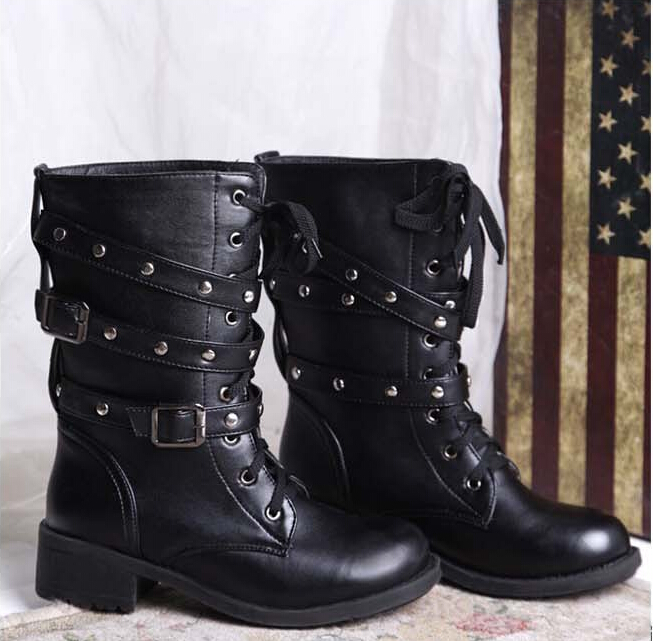 Women Motorcycle Boots 2015 Fashion Mid-calf Martin Boots Ladies Retro Rivets Bandage Lace-up Riding Boots Punk Snow Boots Shoes beango front lace up women biking boots do old leather vintage style long boots rivets motorcycle martin boots