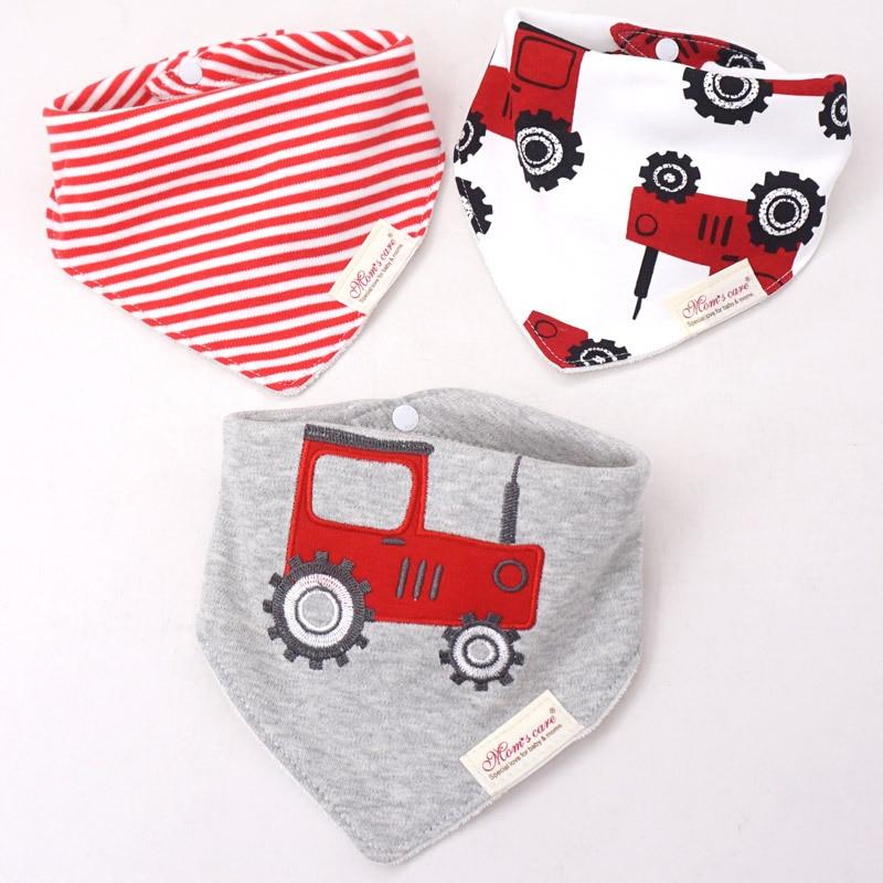 3Pcs/set Baby Cotton Bibs Kids Printing Soft Cute