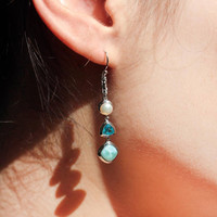 Fine Jewelry Bohemia Style Solid 925 Sterling Silver Handmade Natural Larimar Drop Dangle Pearl Earrings