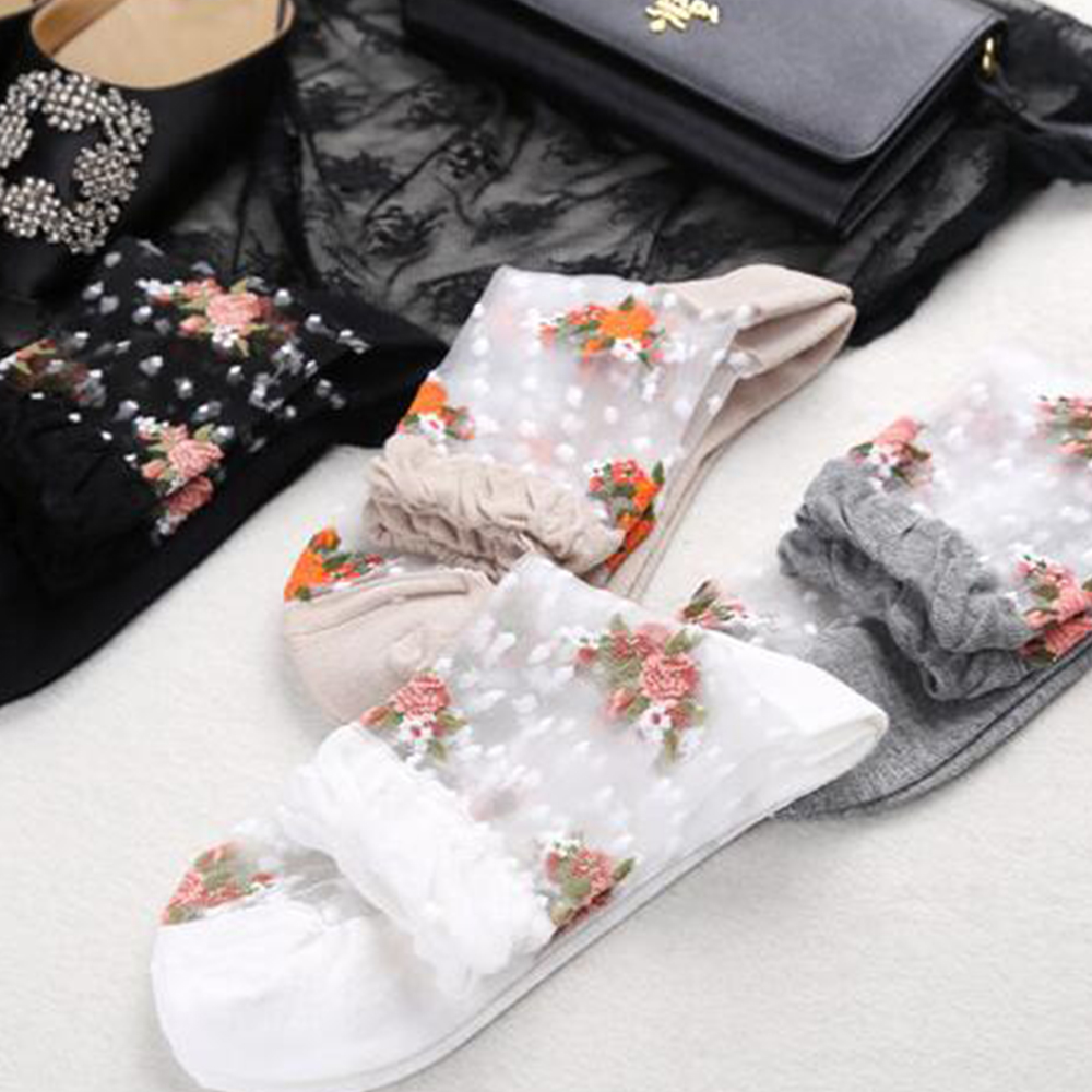 1 Pair Ultra Lace Thin Socks Women Girls Summer Crystal Rose Flower Elastic Short Socks Transparent