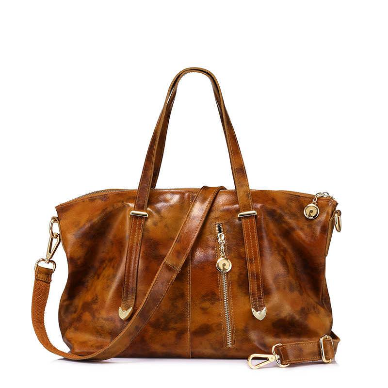 da67a9c62e3 REALER brand women's bags genuine leather tote bag female large shoulder  messenger bag ladies handbag top-handle Red/Black/Brown